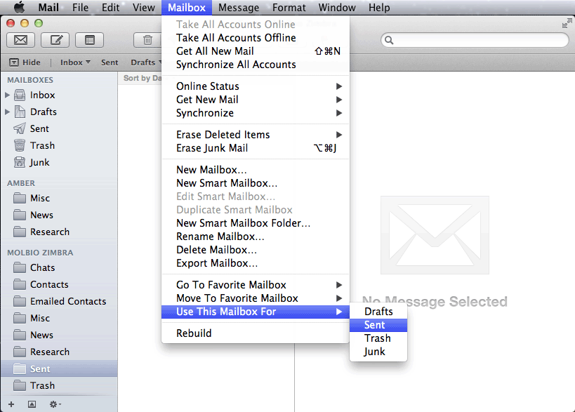 Mac Mail: Migrating from Amber to Zimbra | Department of
